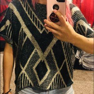 Cute slouchy winter pattern sweater top
